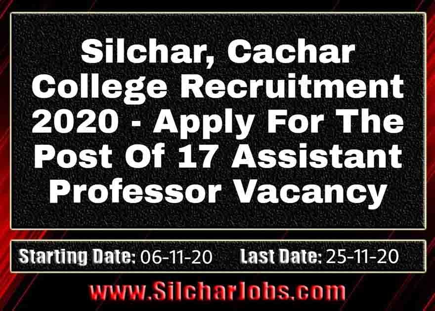 Cachar College Recruitment 2020