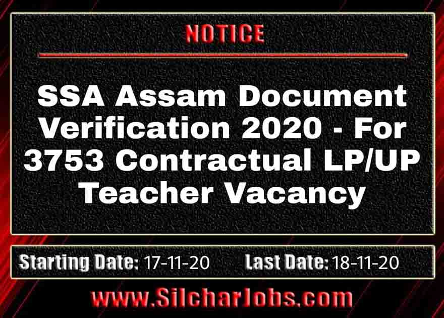 SSA Assam Document Verification 2020
