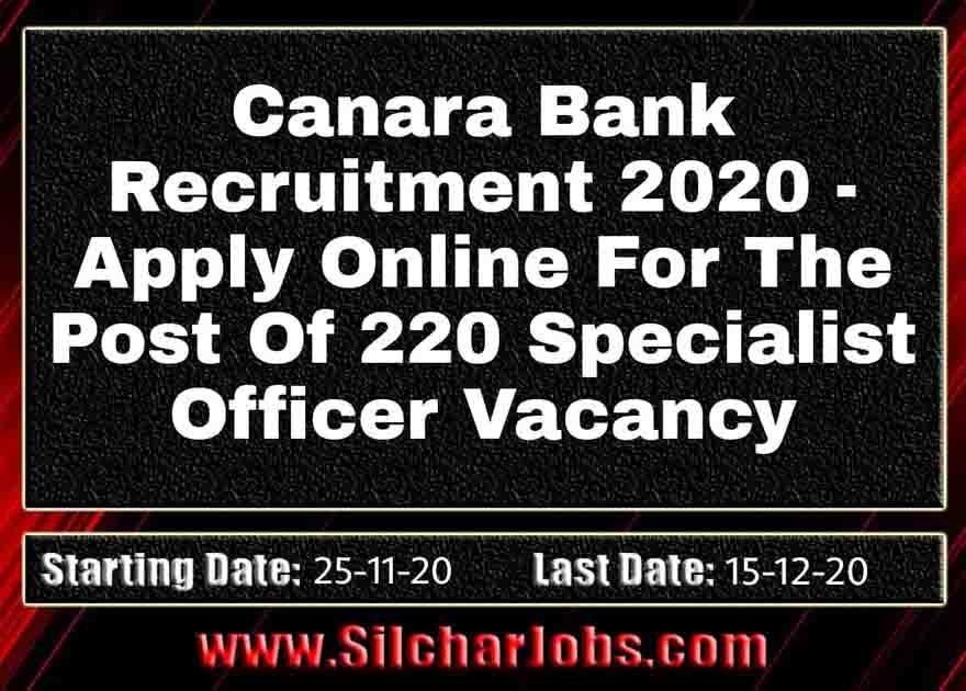 Canara Bank Recruitment 2020