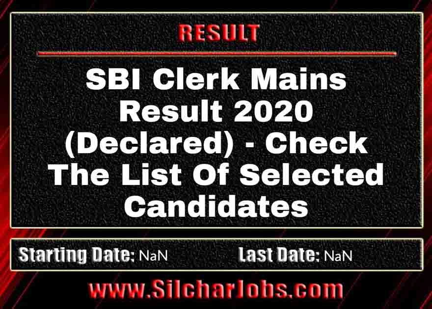 SBI Clerk Mains Result 2020