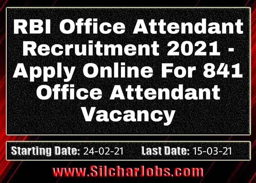 RBI Office Attendant Recruitment 2021